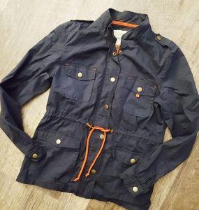 Maurcies blue cinch waist utility jacket